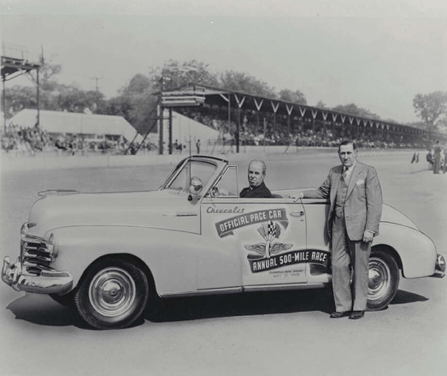 "The first Chevrolet to pace the Indy 500 was 1948 Convertible, shown with track officials for that year's race. (05/19/2011) Photo: GM, Contact / License Agreement - Please read the following important information pertaining  to this image. This GM image is protected by copyright and is provided for use under a Creative Commons 3.0 License* for the purpose of editorial comment only. The use of this image for advertising, marketing, or any other commercial purposes is prohibited. This image can be cropped, but may not be altered in any other way, and each should bear the credit line ""© GM Co."" General Motors makes no representations with respect to the consent of those persons appearing in these photos, or with regard to the use of names, trademarks, trade dress, copyrighted designs or works of art or architecture that are not the intellectual property of General Motors."
