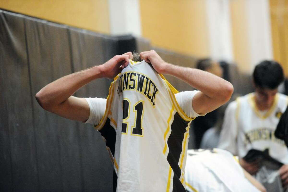 Brunswick captain Max Barrett reacts to the Bruins loss to St. Luke's in a boys basketball game Friday evening, January 8, 2010. St. Luke's won 60-55.