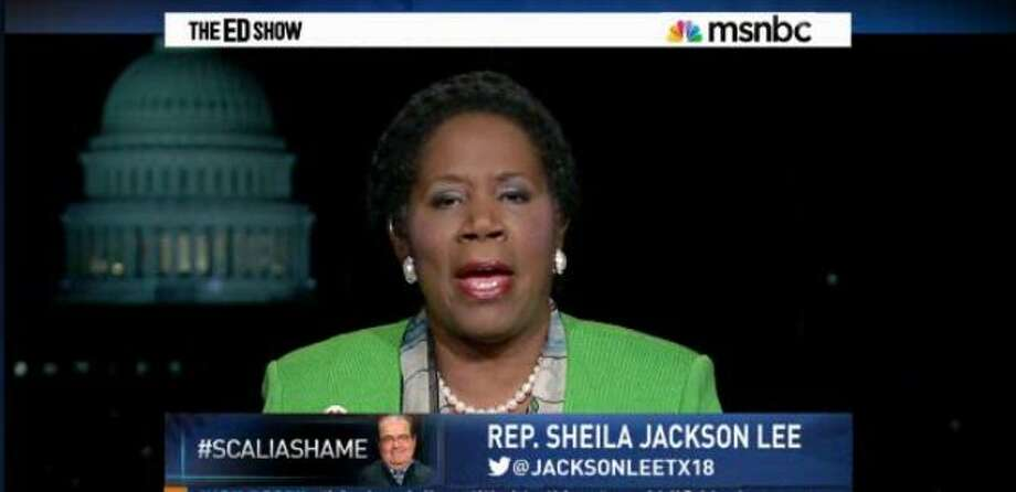 "Sheila Jackson Lee denounces Supreme Court Justice Antonin Scalia on ""The Ed Show."" Photo: MSNBC"