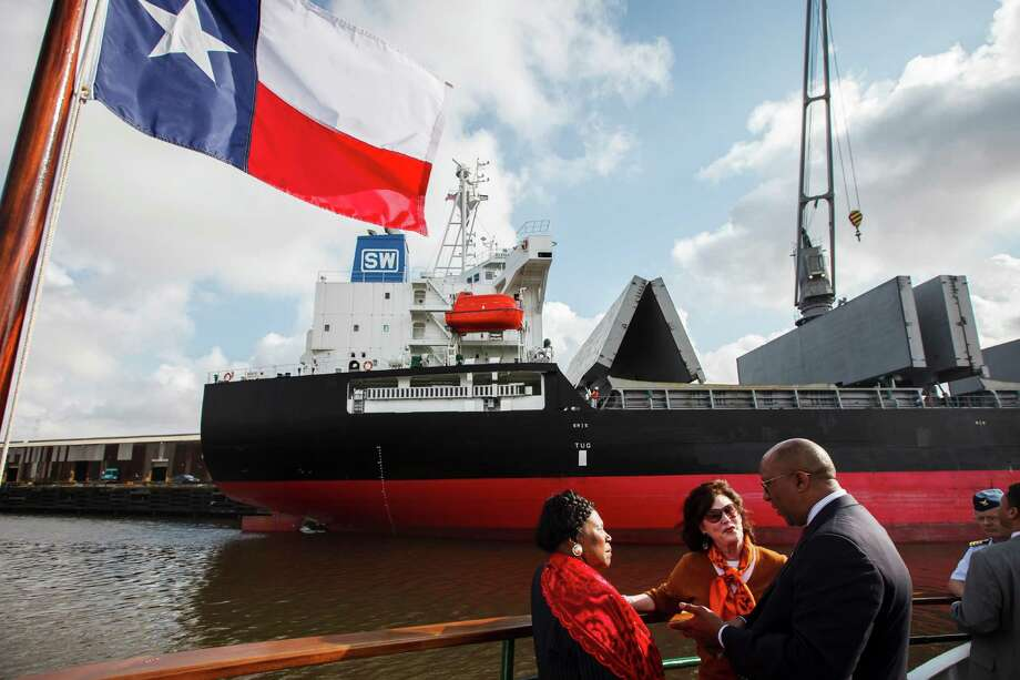 U.S. Trade Representative Ron Kirk speaks with Congresswoman Sheila Jackson Lee and Port Commissioner Elyse Lanier as they look at the Houston Ship Channel while aboard the MV Sam Houston on March 16, 2012, in Houston. Photo: Michael Paulsen, Houston Chronicle / © 2012 Houston Chronicle