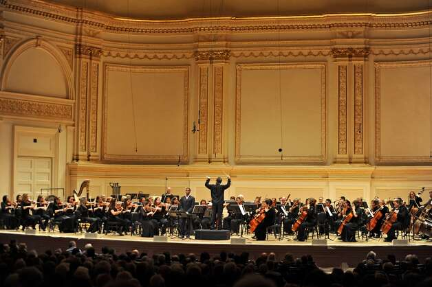 The Albany Symphony Orchestra plays it's debut concert at Carnegie Hall in NEW YORK Tuesday May 10, 2011. Nathan De'Shon Myers sings baritone. (Lori Van Buren / Times Union)