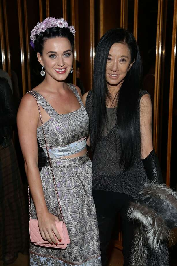 "NEW YORK, NY - MAY 05:  Katy Perry (L) and Vera Wang attend the pre-Met Ball special screening of ""The Great Gatsby"" after-party at The Top of The Standard on May 5, 2013 in New York City.  (Photo by Rob Kim/Getty Images)"