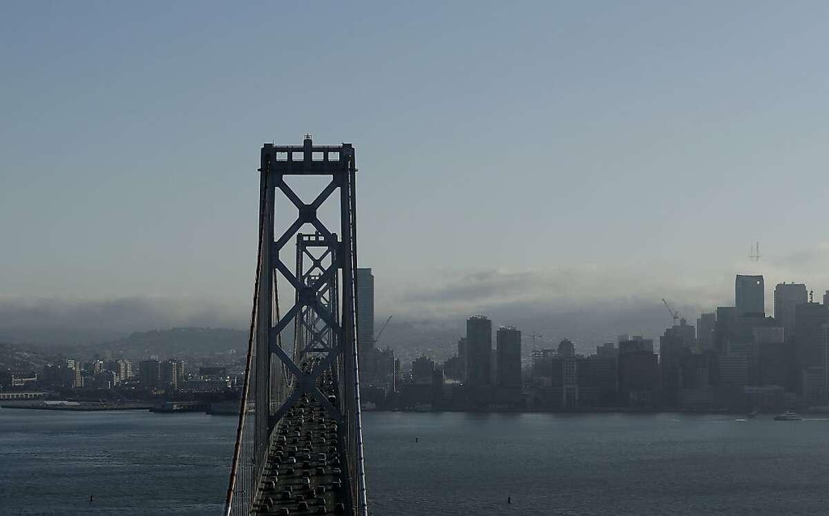 The Bay Bridge and San Francisco skyline is seen from Yerba Buena Island, Calif., Tuesday, April 23, 2013. (AP Photo/Jeff Chiu)