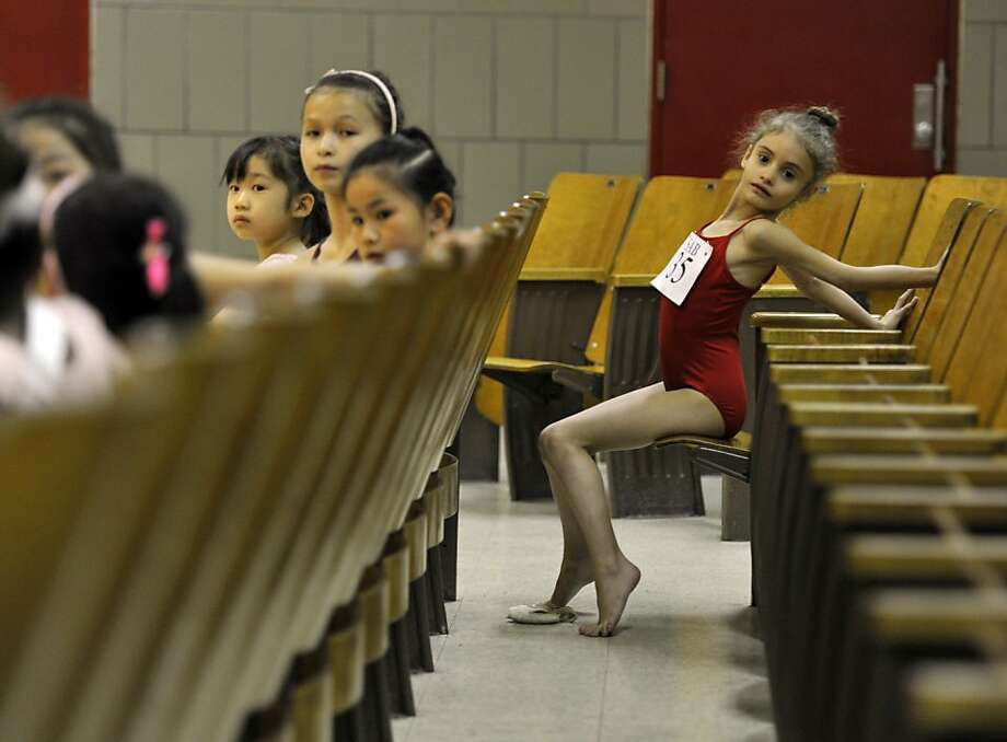 Tiny dancers: Young ballerinas await their turn as boys and girls ages 6 to 10 try out for The School of American Ballet at 