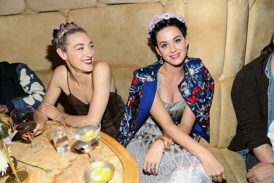 "Katy Perry (R) and Mia Moretti attend the pre-Met Ball special screening of ""The Great Gatsby"" after-party at The Top of The Standard on May 5, 2013 in New York City.  (Photo by Rob Kim/Getty Images)"