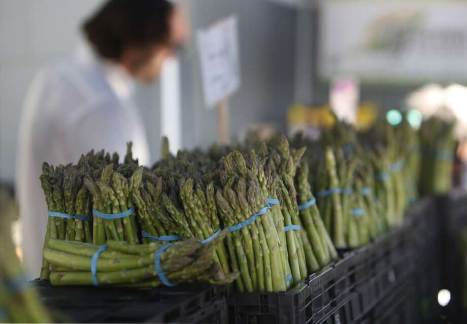 Asparagus is displayed at the Zuckerman's Farm stand.