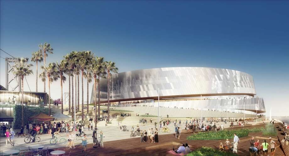 Close up shot of the the planned new Golden State Warriors arena that features lots of glass, medal and a spiral exterior walkway with full views of the bay and city skyline. Image courtesy the Golden State Warriors.