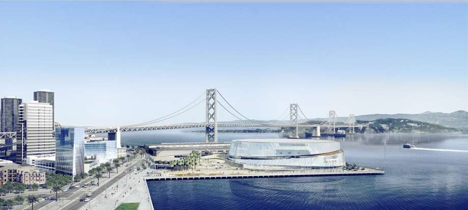 A daytime view of the proposed Golden State Warriors arena takes advantage of the Bay views. Image courtesy the Golden State Warriors