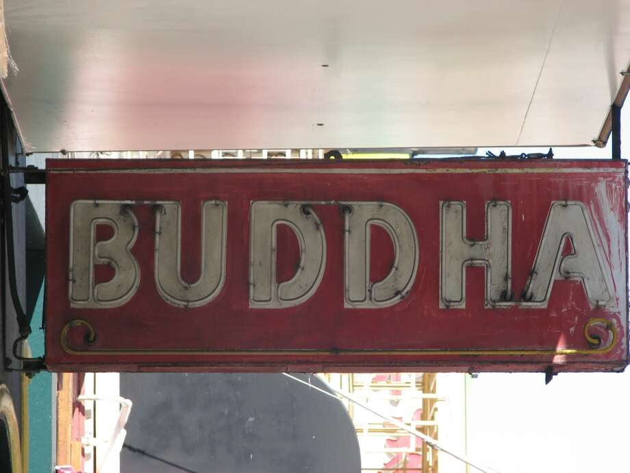 Washington and Grant, April 16, 2013; Buddha in neon