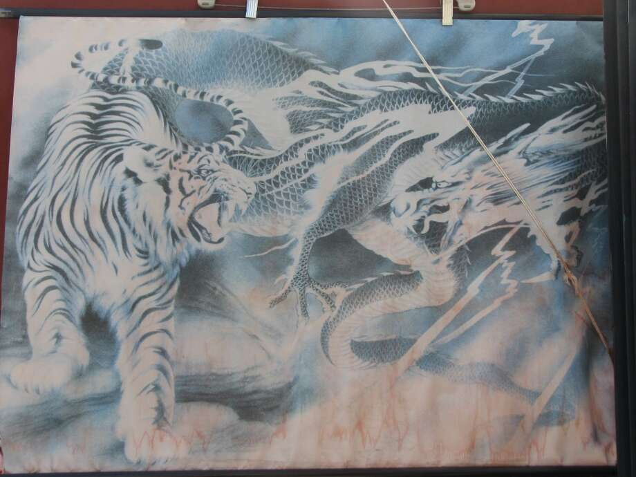 Grant and Bush, April 16, 2013; airbrushed tiger and dragon