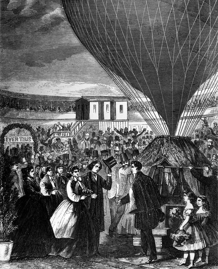 It's also not a particularly new idea, as shown in this depiction of a balloon wedding in 1865. Photo: Three Lions, Getty Images / Hulton Archive