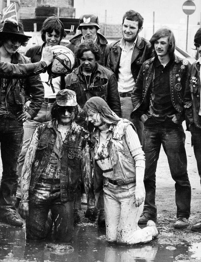 "But be warned that a Hell's Angels wedding includes at mud ""baptism,"" or at least it did in 1971. Photo: Manchester Daily Express, SSPL Via Getty Images / DAILY EXPRESS / SSPL"