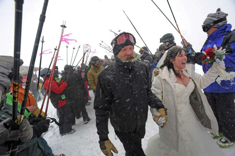 "Into the other kind of Skiing? The aptly named Loveland Ski Area, in Colorado, hosts an annual ""Marry Me & Ski For Free Mountaintop Matrimony"" event. Photo: Helen H. Richardson, DP / (C) 2011 The Denver Post, MediaNews Group"