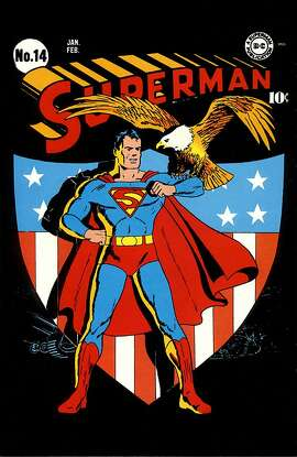 Superman #14 by Fred Ray is among the works on view in a new show at the Cartoon Art Museum.