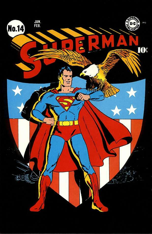 Superman No. 14 by Fred Ray is on view at the Cartoon Art Museum in S.F. Photo: Cartoon Art Museum
