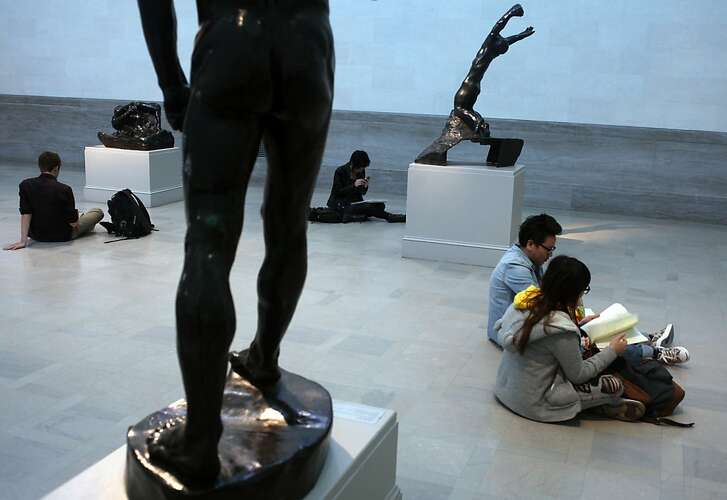 Art students sketch famous sculptures in the Rodin Gallery at the Legion of Honor in Lincoln  Heights.