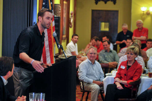 Texas Tech head footbal coach Kliff Kingsbury answers audience questions during the San Antonio Quarterback Club luncheon at Earl Abel's Monday. Photo: For The San Antonio Express-News
