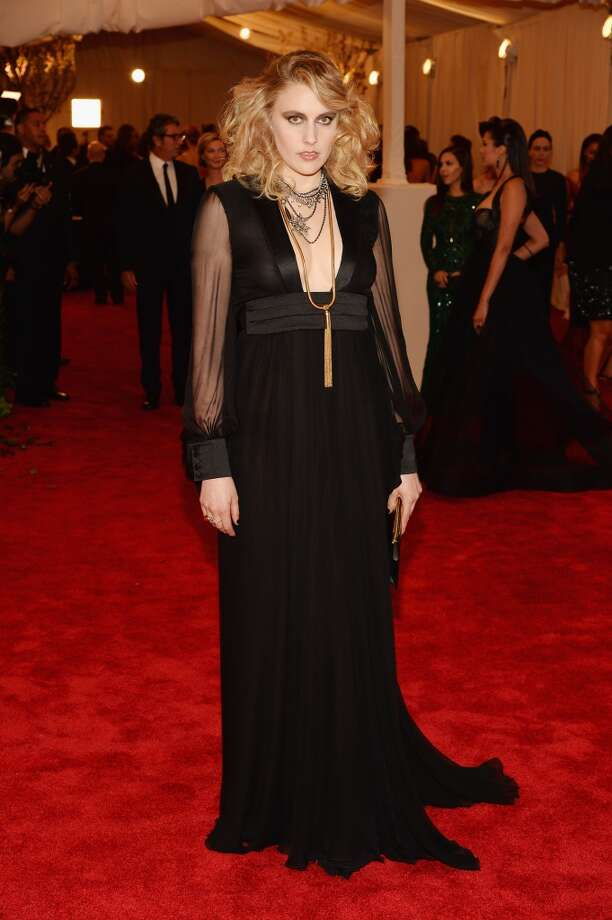 "NEW YORK, NY - MAY 06:  Greta Gerwig attends the Costume Institute Gala for the ""PUNK: Chaos to Couture"" exhibition at the Metropolitan Museum of Art on May 6, 2013 in New York City.  (Photo by Dimitrios Kambouris/Getty Images)"