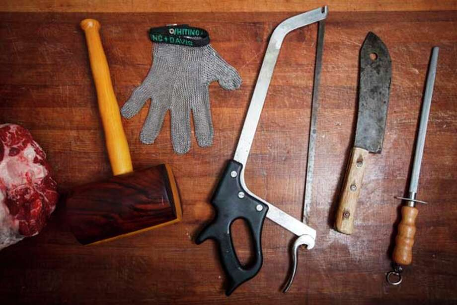 Meat butchering tools at Chris Shepherd's restaurant Underbelly, Friday, Sept. 21, 2012, in Houston. ( Michael Paulsen / Houston Chronicle ) Photo: Michael Paulsen, Houston Chronicle / © 2012 Houston Chronicle