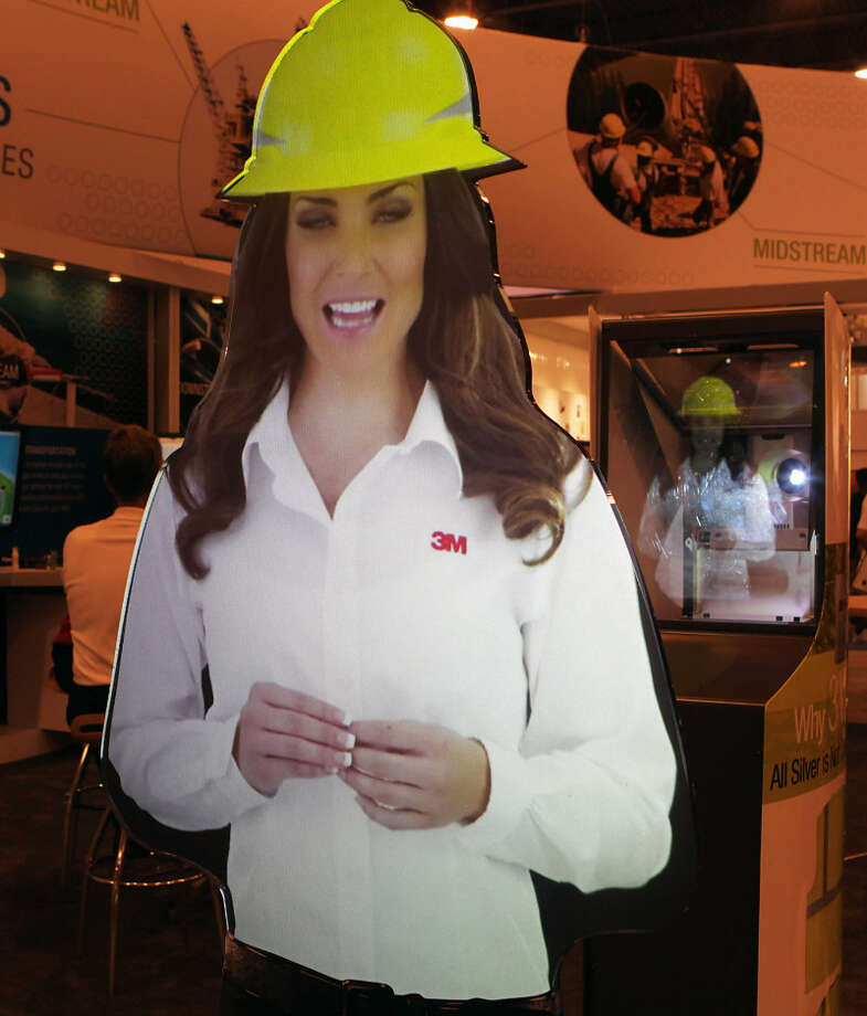 A life size hologram woman on display at the 3M booth at OTC 2013 at Reliant Park Monday, May 6, 2013, in Houston. ( James Nielsen / Houston Chronicle )