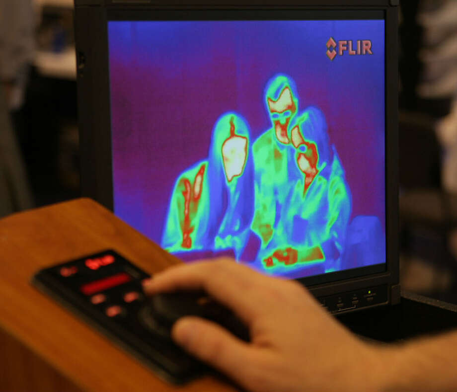 A FLIR Systems, Inc. thermal image displayed on a monitor at OTC 2013 at Reliant Park Monday, May 6, 2013, in Houston. ( James Nielsen / Houston Chronicle )