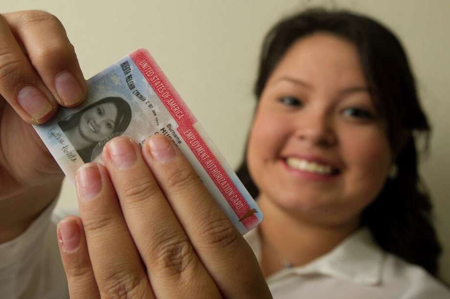 Cynthia Huerta got her U.S. Employment Authorization card in December, enabling her to to get a job as a filing clerk at a Houston law firm. Photo: J. Patric Schneider, Freelance / © 2012 Houston Chronicle