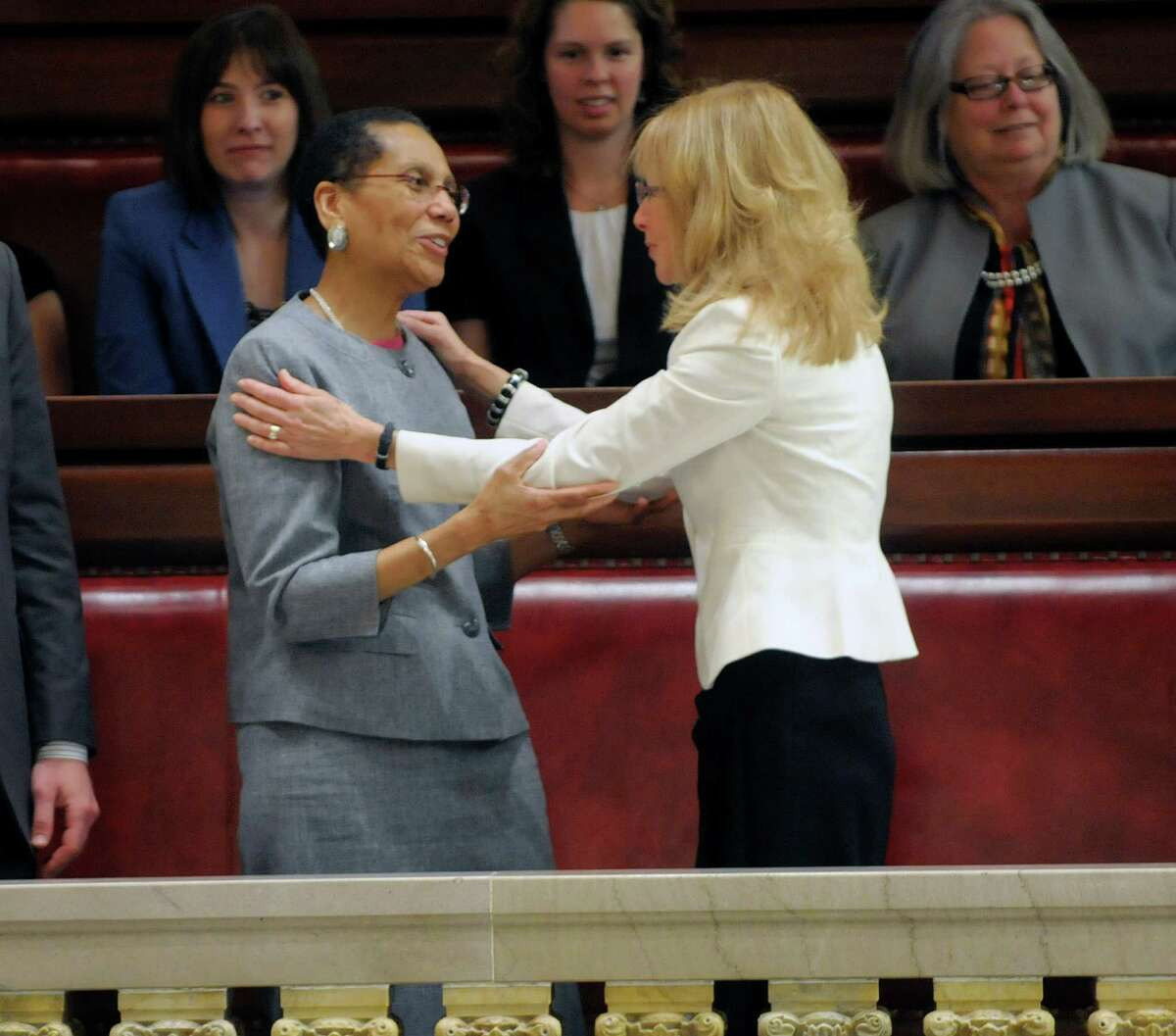 Court of Appeals Justice Sheila Abdus-Salaam, left, talks with Albany City Court Judge, Rachel Kretser after Justice Sheila Abdus-Salaam was confirmed by the State Senate at the Capitol on Monday, May 6, 2013 in Albany, NY. Justice Sheila Abdus-Salaam is the first African-American woman on the seven-member Court of Appeals. (Paul Buckowski / Times Union)