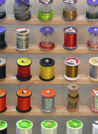 Fly tying threads and wire in Pat Cohen's Cobleskill studio Wednesday April 3, 2013.  (John Carl D'Annibale / Times Union) Photo: John Carl D'Annibale / 10021804A