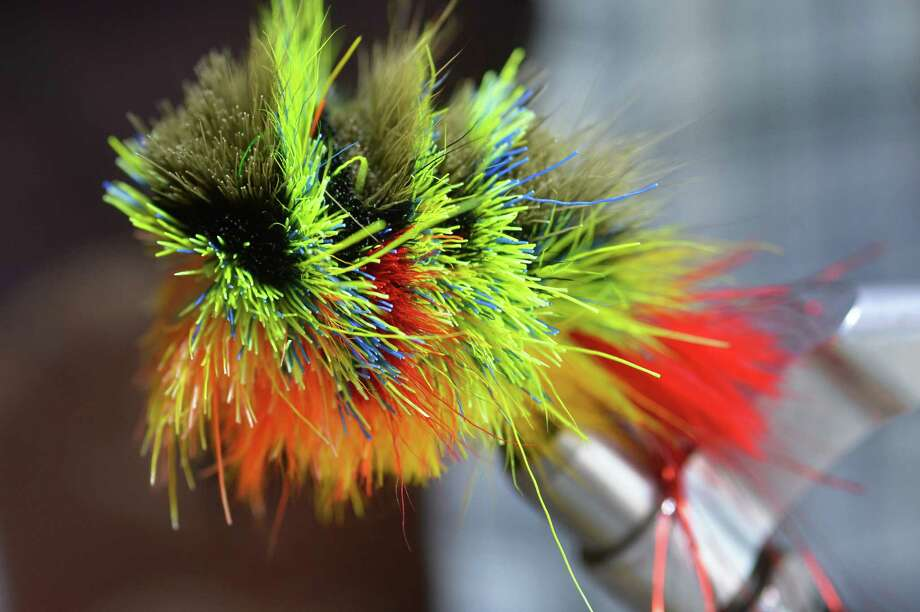 Fly tyer Pat Cohen's stacked deer hair fly, the Crank,  at Cohen's Cobleskill studio Wednesday April 3, 2013.   (John Carl D'Annibale / Times Union) Photo: John Carl D'Annibale / 10021804A