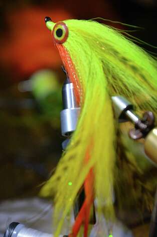 Fly tyer Pat Cohen's Double D, a 7-8 inch steamer fly , at Cohen's Cobleskill studio Wednesday April 3, 2013.   (John Carl D'Annibale / Times Union) Photo: John Carl D'Annibale / 10021804A