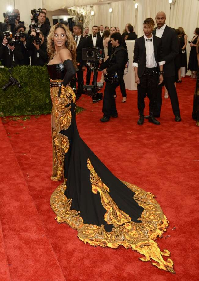 Beyonce, honorary chairwoman, arrives at the Metropolitan Museum of Art's Costume Institute Gala benefit in honor of the museum?s latest exhibit, ?Punk: Chaos to Couture.? May 6, 2013 in New York. AFP PHOTO/Timothy A. CLARY        (Photo credit should read TIMOTHY A. CLARY/AFP/Getty Images)