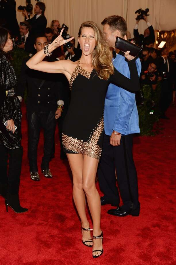"NEW YORK, NY - MAY 06:  Gisele Bundchen attends the Costume Institute Gala for the ""PUNK: Chaos to Couture"" exhibition at the Metropolitan Museum of Art on May 6, 2013 in New York City.  (Photo by Dimitrios Kambouris/Getty Images)"