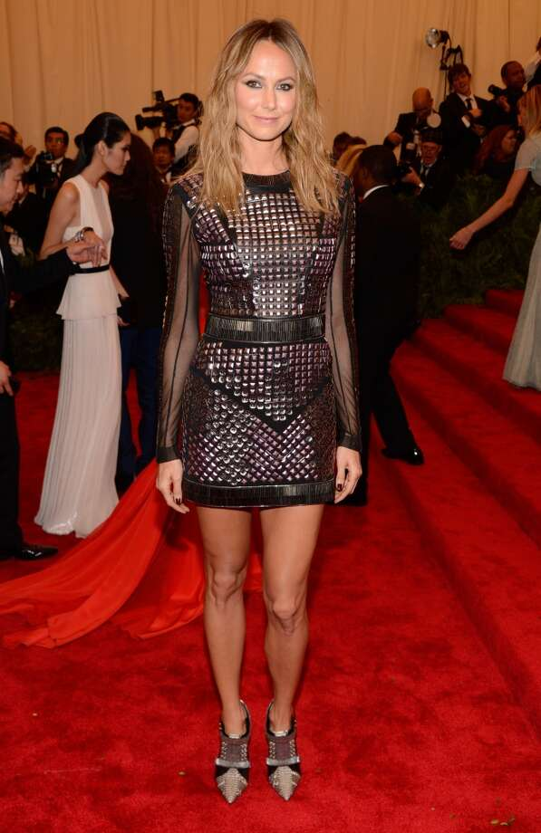 "NEW YORK, NY - MAY 06:  Stacy Keibler attends the Costume Institute Gala for the ""PUNK: Chaos to Couture"" exhibition at the Metropolitan Museum of Art on May 6, 2013 in New York City.  (Photo by Kevin Mazur/WireImage)"