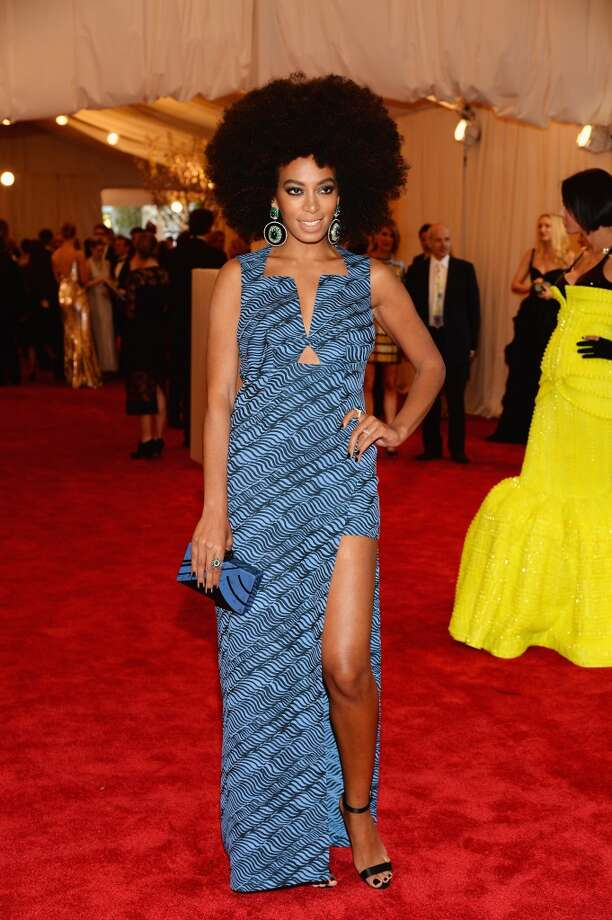 "NEW YORK, NY - MAY 06:  Solange Knowles attends the Costume Institute Gala for the ""PUNK: Chaos to Couture"" exhibition at the Metropolitan Museum of Art on May 6, 2013 in New York City.  (Photo by Dimitrios Kambouris/Getty Images)"