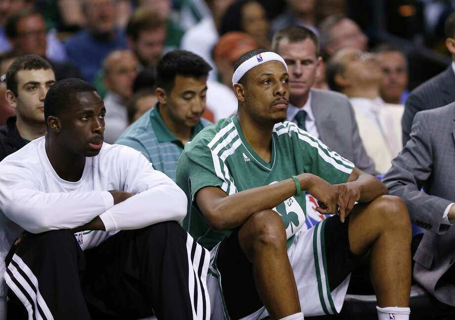 Celtics forward Paul Pierce (right) could be traded in the wake of the team's early playoff exit if Boston opts for big changes. Photo: Jim Rogash / Getty Images