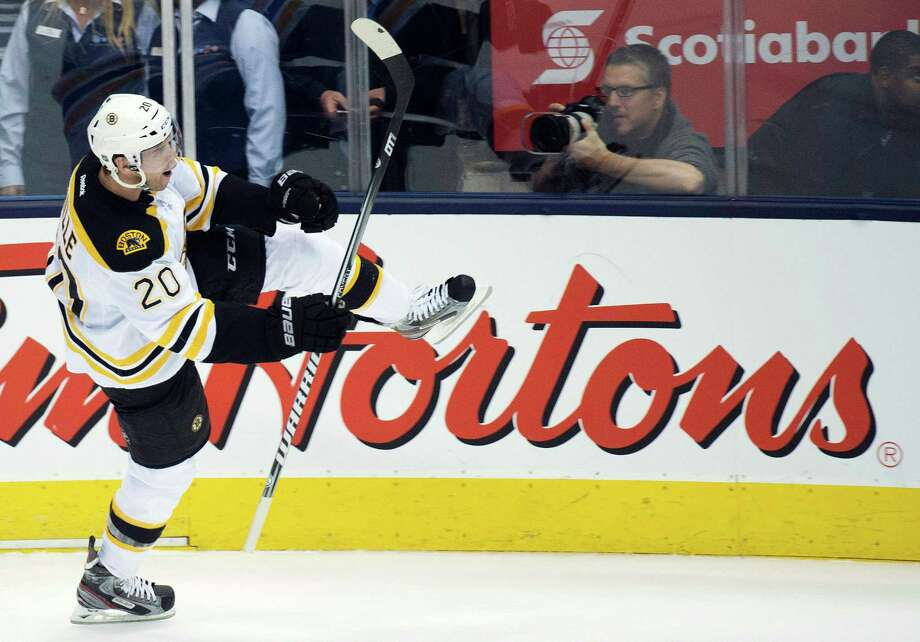 Boston Bruins forward Daniel Paille celebrates his goal against the Toronto Maple Leafs during the second period of Game 3 of their first-round NHL hockey Stanley Cup playoff series, Monday, May 6, 2013, in Toronto. Photo: The Canadian Press, Nathan Denette