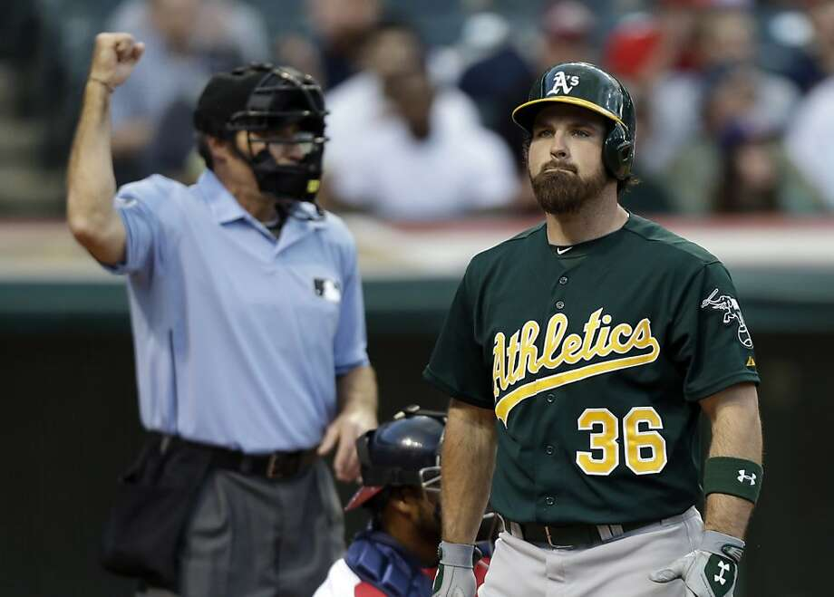Oakland Athletics' Derek Norris (36) rects after being called out on strikes in the third inning of a baseball game against the Cleveland Indians Monday, May 6, 2013, in Cleveland. (AP Photo/Mark Duncan) Photo: Mark Duncan, Associated Press