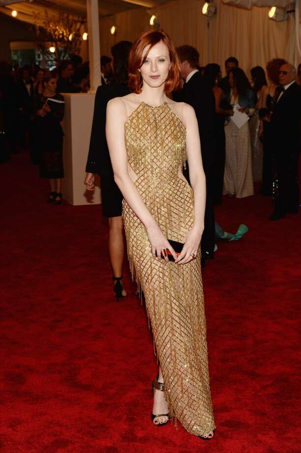 "NEW YORK, NY - MAY 06:  Karen Elson attends the Costume Institute Gala for the ""PUNK: Chaos to Couture"" exhibition at the Metropolitan Museum of Art on May 6, 2013 in New York City.  (Photo by Dimitrios Kambouris/Getty Images)"