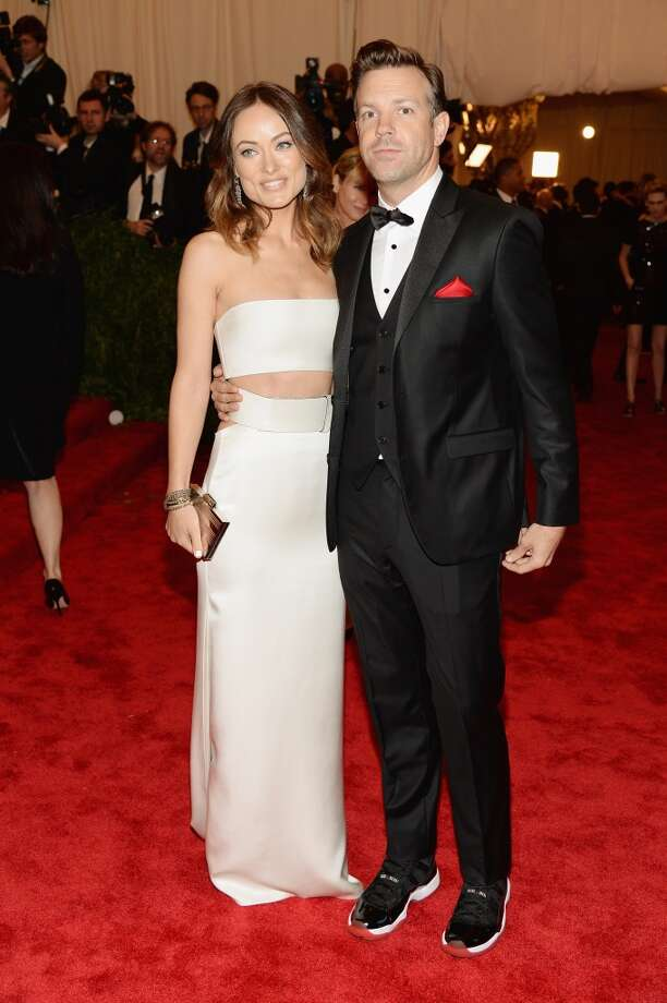 "NEW YORK, NY - MAY 06:  Olivia Wilde and Jason Sudeikis attend the Costume Institute Gala for the ""PUNK: Chaos to Couture"" exhibition at the Metropolitan Museum of Art on May 6, 2013 in New York City.  (Photo by Dimitrios Kambouris/Getty Images)"