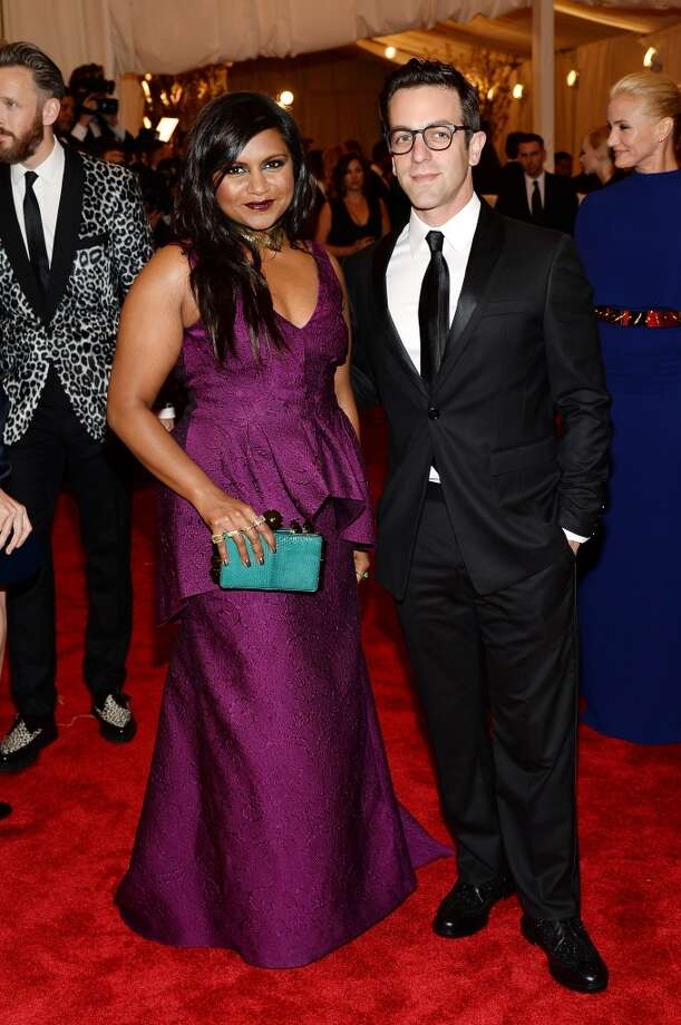 "NEW YORK, NY - MAY 06:  Mindy Kaling and B.J. Novak attend the Costume Institute Gala for the ""PUNK: Chaos to Couture"" exhibition at the Metropolitan Museum of Art on May 6, 2013 in New York City.  (Photo by Dimitrios Kambouris/Getty Images)"