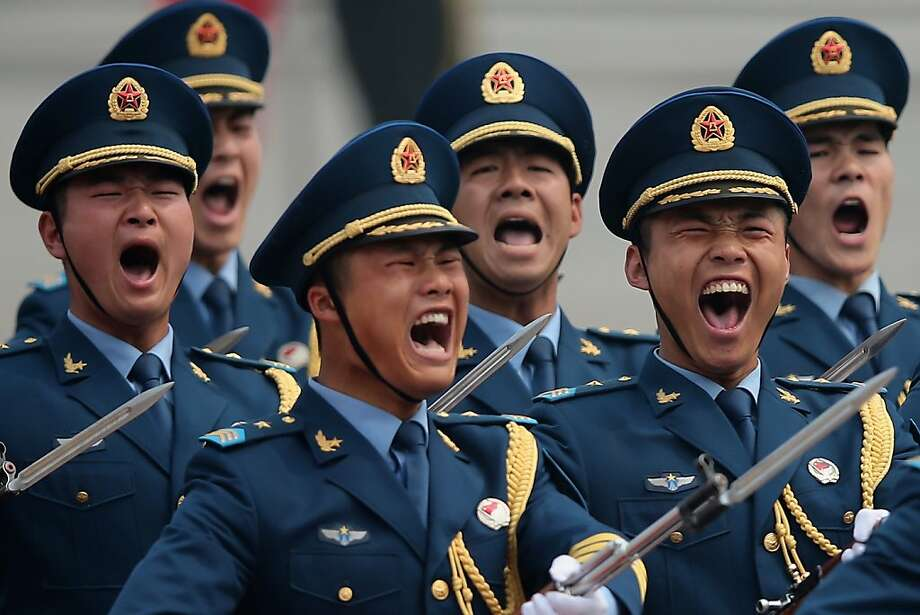 BEIJING, CHINA - MAY 06:  Honour guard troops march during a welcoming ceremony for visiting Palestinian President Mahmoud Abbas outside the Great Hall of the People on May 6, 2013 in Beijing, China.  (Photo by Feng Li/Getty Images) *** BESTPIX *** Photo: Feng Li, Getty Images