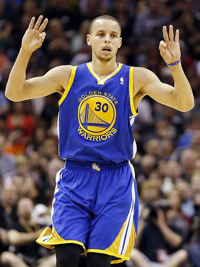 Golden State Warriors' Stephen Curry reacts after making a 3-pointer during first half action of Game 1 in the NBA Western Conference semifinals against the San Antonio Spurs Monday May 6, 2013 at the AT&T Center. Photo: Edward A. Ornelas, San Antonio Express-News