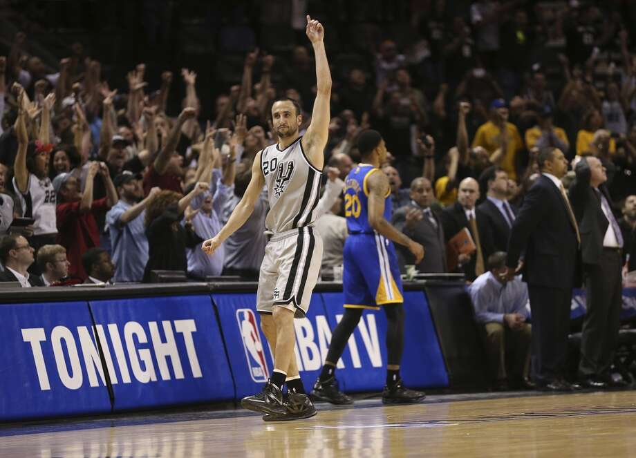 The Spurs' Manu Ginobili reacts after hitting the go ahead 3-pointer to win against the Golden State Warriors in Game 1 of the NBA Western Conference semifinals at the AT&T Center, Monday, May 6, 2013. The Spurs won in double overtime 129-127.