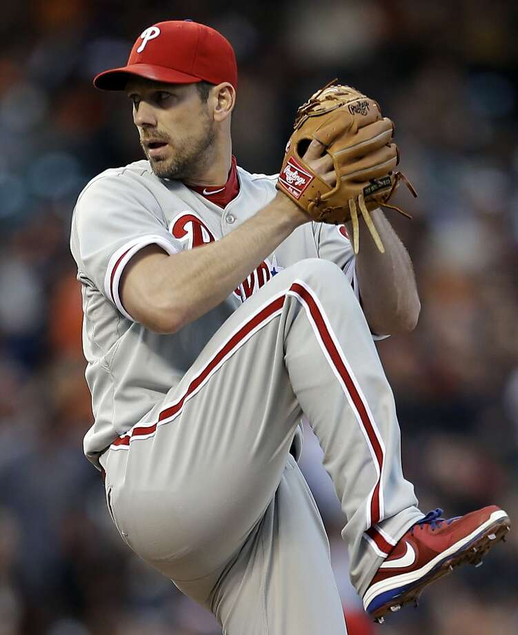 Philadelphia Phillies' Cliff Lee works against the San Francisco Giants in the first inning of a baseball game, Monday, May 6, 2013, in San Francisco. (AP Photo/Ben Margot) Photo: Ben Margot, Associated Press