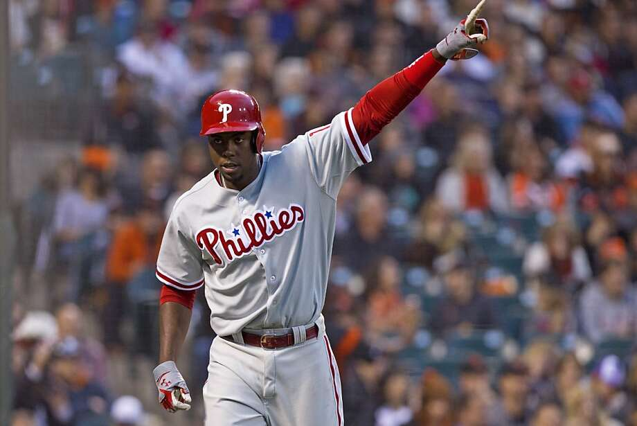 SAN FRANCISCO, CA - MAY 06: John Mayberry Jr. #15 of the Philadelphia Phillies celebrates after scoring a run against the San Francisco Giants during the second inning at AT&T Park on May 6, 2013 in San Francisco, California. (Photo by Jason O. Watson/Getty Images) Photo: Jason O. Watson, Getty Images
