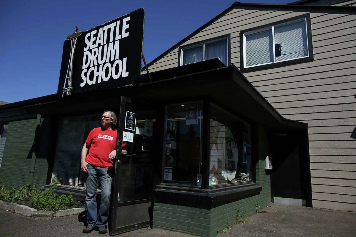 Steve Smith, owner of the Seattle Drum School, is shown at the building in north Seattle on May 4, 2013.