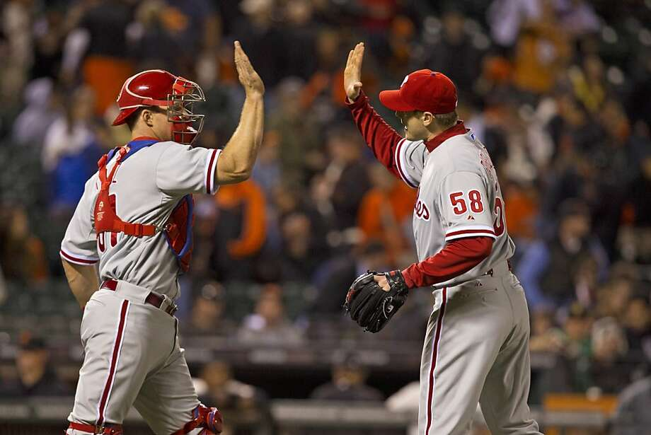 SAN FRANCISCO, CA - MAY 06:  Jonathan Papelbon #58 of the Philadelphia Phillies celebrates with Erik Kratz #31 after the game against the San Francisco Giants at AT&T Park on May 6, 2013 in San Francisco, California. The Philadelphia Phillies defeated the San Francisco Giants 6-2. (Photo by Jason O. Watson/Getty Images) Photo: Jason O. Watson, Getty Images