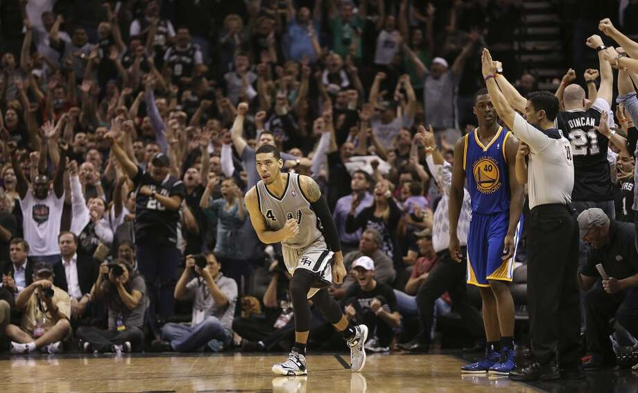 San Antonio Spurs' Danny Green reacst after hitting a tying three-pointer late in regulation time in Game 1 of the NBA Western Conference semifinals at the AT&T Center, Monday, May 6, 2013. The shot sent the game into overtime. The Spurs won in double overtime, 129-127.