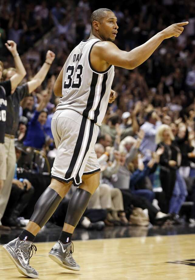 San Antonio Spurs' Boris Diaw reacts after scoring in Game 1 of the NBA Western Conference semifinals against the Golden State Warriors Monday May 6, 2013 at the AT&T Center. The Spurs won 129-127 in double overtime.