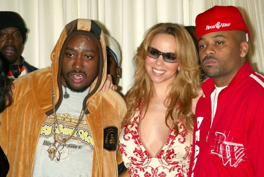 After he was released from prison in 2003, rapper Ol' Dirty Bastard attended a press conference with Mariah Carey and producer Damon Dash to announce his new record deal.